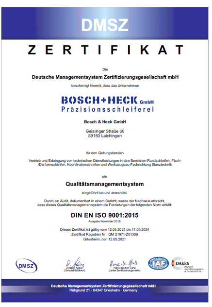 DMS Zertifikat DIN EN ISO 9001:2015